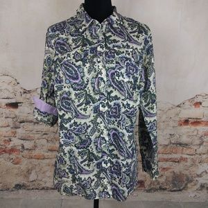 Talbots 16WP Green Purple Paisley Cotton Shirt